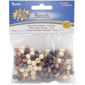 Earth Tones - Round Wood Beads 8mm 160/Pkg