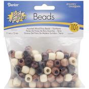 Earth Tones - Wood Pony Beads 11mm X 12mm 110/Pkg