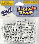 White w/Black Letters - Alphabet Beads 6mm 160/Pkg
