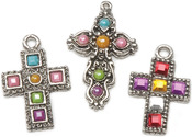 Antique Silver - Rhinestone Cross Charms 3 Assorted/Pkg