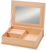 "7.5""X5.5"" - Paper-Mache Jewelry Box W/Mirror"