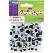 Paste - On Wiggle Eyes Assorted 7mm to 15mm 100/Pkg - Black