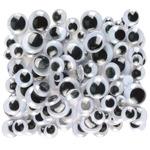 Black - Peel & Stick Wiggle Eyes Assorted 7mm to 15mm 100/Pkg