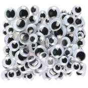 Black - Peel & Stick Wiggle Eyes Assorted 7mm to 15mm 100/Pkg
