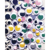Assorted Colors - Peel & Stick Wiggle Eyes Assorted 7mm to 15mm 100/Pkg