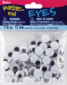 Black - Paste-On Wiggle Eyes 12mm 118/Pkg