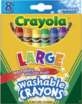 8/Pkg - Crayola Large Washable Crayons