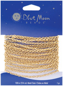 "Gold - Blue Moon Fine Cable Chain 100"" 1/Pkg"