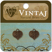 Teensie Nouveau Leaf 13mmX12mm - Vintaj Metal Accents 2/Pkg