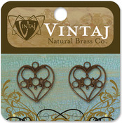 Delicate Heart 19mmX18mm - Vintaj Metal Accents 2/Pkg