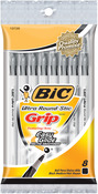 Black - Bic Ultra Round Stic Grip Ball Pens Medium Point 8/Pkg