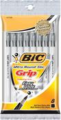 Black - Bic Ultra Round Stic Grip Ball Pens Medium Point 8/Pkg