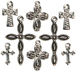 Cross Silver/Black 8/Pkg - Jewelry Basics Metal Charms