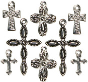 Cross Silver/Black 8/Pkg - Jewelry Basics Metal Charms