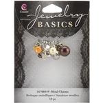 Brown Glass/Metal Bead Cluster 10/Pkg - Jewelry Basics Metal Charms