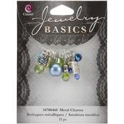 Aqua Glass and Metal Bead Cluster 11/Pkg - Jewelry Basics Metal Charms