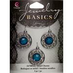 Filigree Silver/Turquoise 3/Pkg - Jewelry Basics Metal Charms