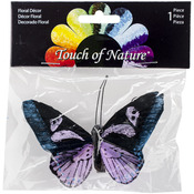 "Teal, Orchid & Black - Butterfly On Clip 4"" 1/Pkg"