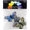 "Blue, Olive And Grey - Butterfly On Clip 2.5"" 3/Pkg"