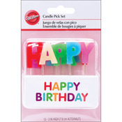 Happy Birthday - Rainbow 13/Pkg - Candle Pick Set 3""