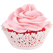 Red Inner Cup & White Outer Cup 24/Pkg - Doily Standard Baking Cup Kit