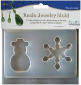 "Snowman/Snowflake - Resin Jewelry Reusable Plastic Mold 2 Cavity 4-1/2""X4-3/4"""