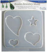 "Hearts/Stars - Resin Jewelry Reusable Plastic Mold 4 Cavity 6-3/4""X7-1/2"""