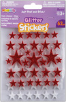 Stars-Red/White - Foam Glitter Stickers 62/Pkg