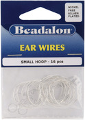 Silver Plated & Nickel-Free - Ear Wire Beading Hoops Small 20mm 16/Pkg