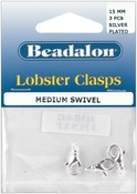 Silver Plated - Lobster Swivel Clasp 15mm 3/Pkg