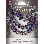 Purple and Gold Rondelle - Jewelry Basics Mirror Glass Beads 10mm 32/Pkg