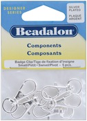 Silver Plated - Small Badge Clip with Swivel 5/Pkg
