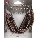 Brown Metallic Round - Jewelry Basics Glass Beads 6mm 100/Pkg