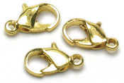 Gold Lobster Claws 7mm-9mm - Jewelry Basics Metal Findings 24/Pkg