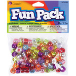 Assorted W/Silver Lining - Fun Pack Acrylic Pony Beads 1.1 Ounces