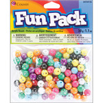 Assorted W/Rhinestones - Fun Pack Acrylic Pony Beads 1.1 Ounces