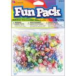 Assorted W/Rhinestones - Fun Pack Acrylic Pony Beads 1.8 Ounces