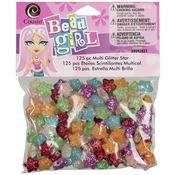 Assorted Colors - Bead Girl Glitter Star Beads 125/Pkg