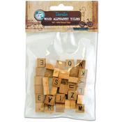 Natural - Vintage Edition Mini Wood Alphabet Tiles 40/Pkg