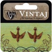Watchful Bird 17mmX16.5mm - Vintaj Metal Accents 2/Pkg