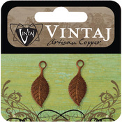 Spring Green Leaf 22.5mmX9mm - Vintaj Metal Accents 2/Pkg