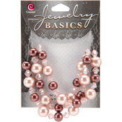 Jewelry Basics Pearl and Crystal Bead Mix 8mm-10mm 51/Pkg - Brown and Peach Roun