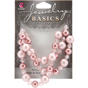 Jewelry Basics Pearl and Crystal Bead Mix 8mm-10mm 51/Pkg - Pink and Bronze Roun