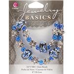 """8"""" Blue Fancy Round Mix - Jewelry Basics Glass Bead Strands"""