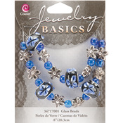 "8"" Blue Fancy Round Mix - Jewelry Basics Glass Bead Strands"