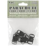 Black - Parachute Cord Bracelet Buckles 12mm 6/Pkg