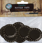 "Black - Vintage Collection Flattened Bottle Caps 1"" 12/Pkg"