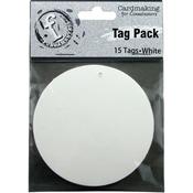 Medium Circle/White - Fundamentals Tags 15/Pkg