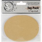 Large Oval/Kraft - Fundamentals Tags 12/Pkg