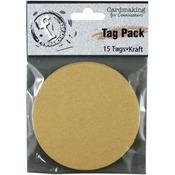 Medium Circle/Kraft - Fundamentals Tags 15/Pkg